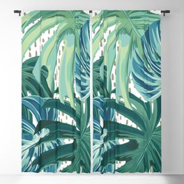 Tropical Palms, Green and Blue, Abstract Blackout Curtain