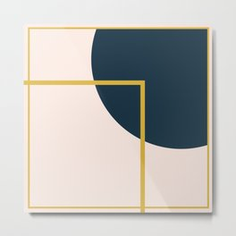 Fusion 2 Minimalist Geometric Abstract in Mustard Yellow, Navy Blue, and Blush Pink Metal Print
