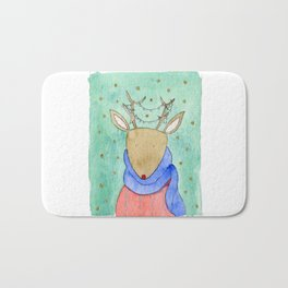 Deer with scarf Bath Mat