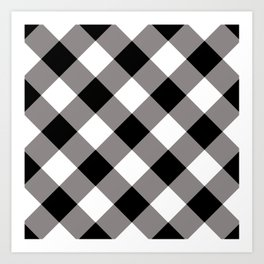 Gingham - Black Art Print
