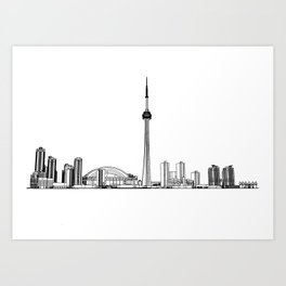 Toronto Skyline - Black on White Art Print