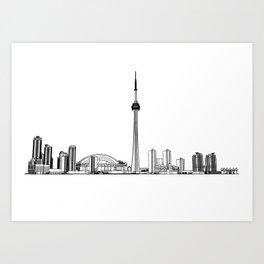 Toronto Skyline - Black on White Art Print