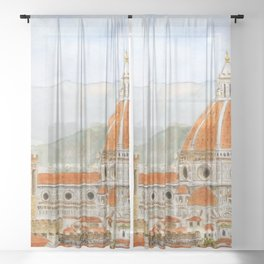 Italy Florence Cathedral Duomo watercolor painting Sheer Curtain