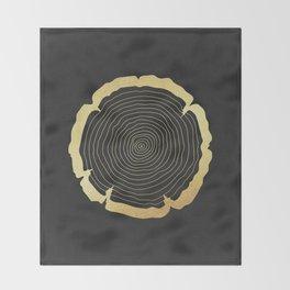 Metallic Gold Tree Ring on Black Throw Blanket