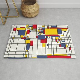 World Map Abstract Mondrian Style Rug