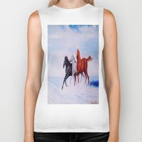 horses Biker Tanks featuring horses by shannon's art space