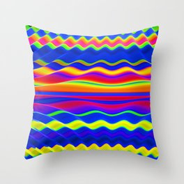 Neon Wave Throw Pillow