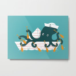 Sailor Octopus Metal Print