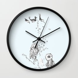 Two Tailed Duck and Jellyfish Pale Blue Wall Clock