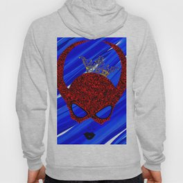Horns, masked and crowned on blue Hoody