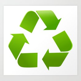 Green Recycle symbol on white background Art Print