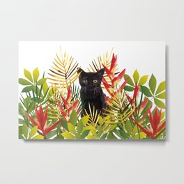 Black Cat Jungle Flower Metal Print