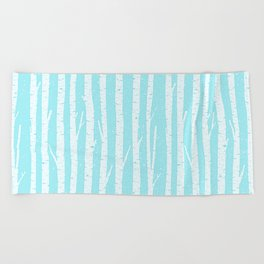 White winter birch forest- With snow covered trees- pattern on teal Beach Towel