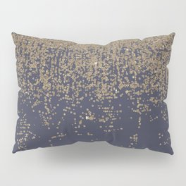 Navy Blue Gold Sparkly Glitter Ombre Pillow Sham
