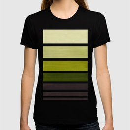 Olive Green Minimalist Watercolor Mid Century Staggered Stripes Rothko Color Block Geometric Art T-shirt