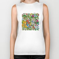 floral pattern Biker Tanks featuring Floral pattern by Matt Johnstone