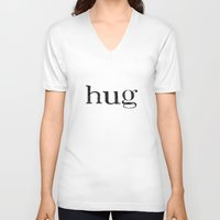 hug V-neck T-shirts featuring hug by giftedfools design studio
