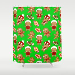 Cute festive green Christmas pattern. Happy gingerbread men and sweet xmas caramel chocolate candy Shower Curtain