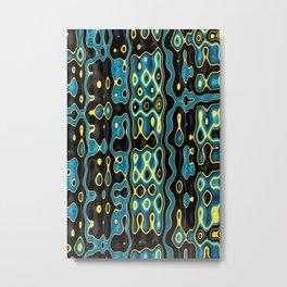 MATRIX turquoise black yellow modern abstract design Metal Print