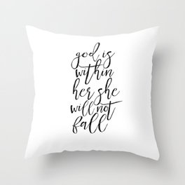 SCRIPTURE SIGN Bible Cover God Is Within her She WIll Not Fall Printable Quotes Scripture Wall Art Throw Pillow