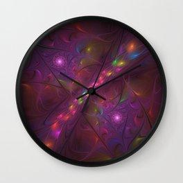 Colorful And Luminous Fractal Art Wall Clock