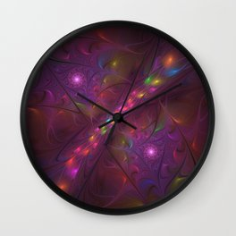 Colorful And Luminous Fractal Art Wall Clock