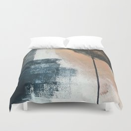 Honey 1: a pretty, minimal abstract in midnight blue, rose gold, and white Duvet Cover