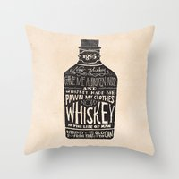 whiskey Throw Pillows featuring Whiskey by Jon Contino