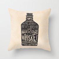 jon snow Throw Pillows featuring Whiskey by Jon Contino