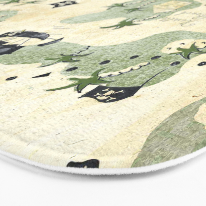 Hand Drawn Pirate Map Bath Mat