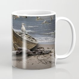 Gulls Flying over a Shipwrecked Wooden Boat Coffee Mug