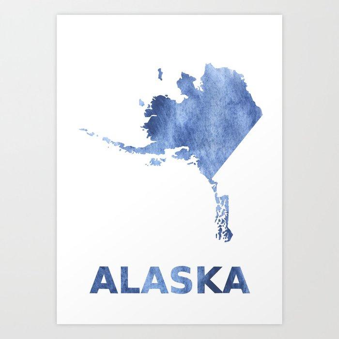 Blank Alaska Map.Alaska Map Outline Blue Clouds Watercolor Pattern Art Print By
