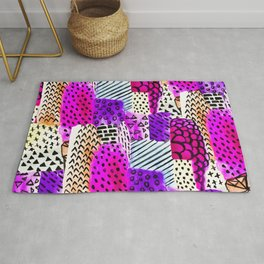 Modern pink watercolor abstract geometric hand painted pattern Rug