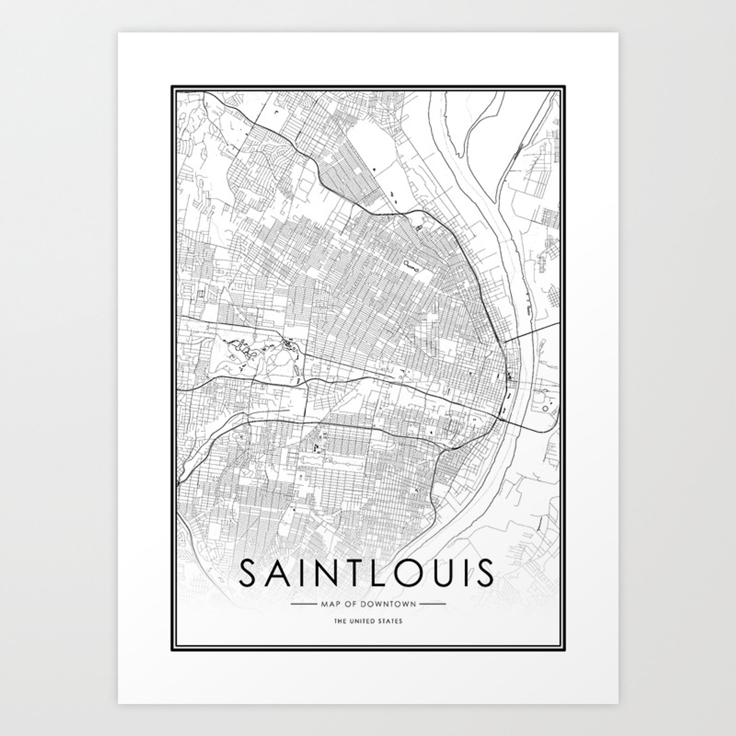 Saint louis City Map United States White and Black Art Print
