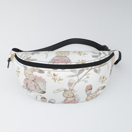 Cute Easter Bunnies with Watercolor Flowers,Sprigs and Leaves Fanny Pack