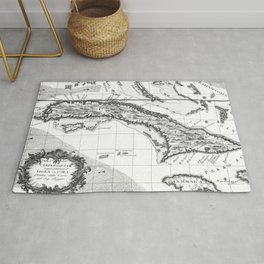 Vintage Map of Cuba and Jamaica (1763) BW Rug