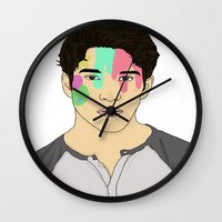 tyler spangler Wall Clocks featuring Tyler Posey by rinartistic