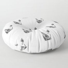 Black and white pig portrait Floor Pillow