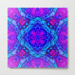 Psychedelic Star Pattern Pink Blue Metal Print