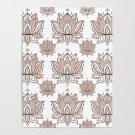 Lotus Mandala Doodle Pink Marble Pattern Poster