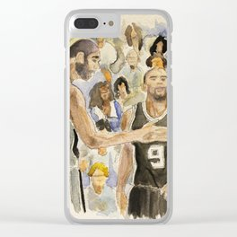 Tim Duncan & Tony Parker_Pro basketball players Clear iPhone Case