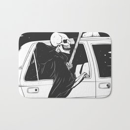 Passenger taxi grim - black and white - gothic reaper Bath Mat