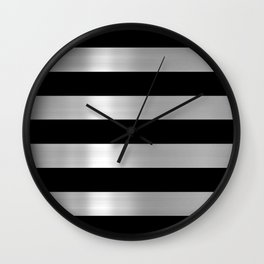 Black & Silver Metallic Stripes Wall Clock