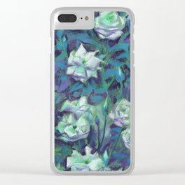 White roses, blue leaves Clear iPhone Case