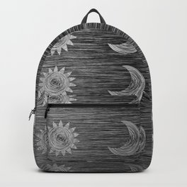 Etched Scratch Black and White Sun Moon Rows Backpack