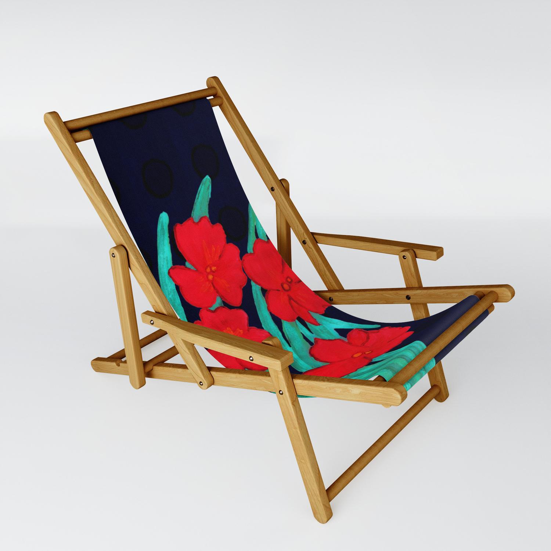 Chaise Style Art Nouveau red flowers gladiolus art nouveau style sling chairannaki