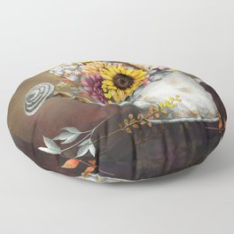 Farm Sunflowers in Watering Can Floor Pillow