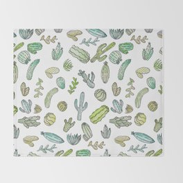 Cute Green Watercolor Paint Summer Cactus Pattern Throw Blanket