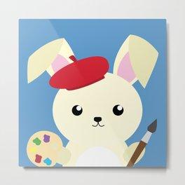 Rabbit Painter Metal Print