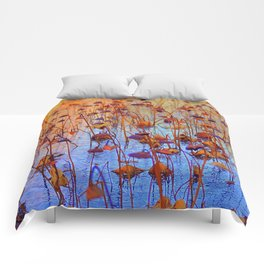Dead Lotus Flower Comforters